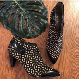 Franco Sarto fur ankle booties with geometric